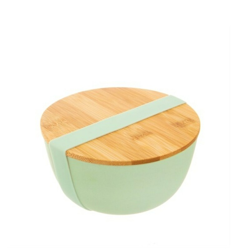 Mint Green Bamboo Bowl with Lid