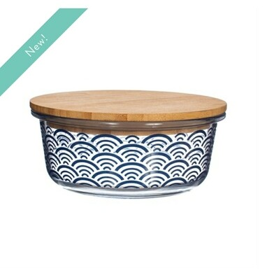BLUE WAVE GLASS CONTAINER WITH BAMBOO LID