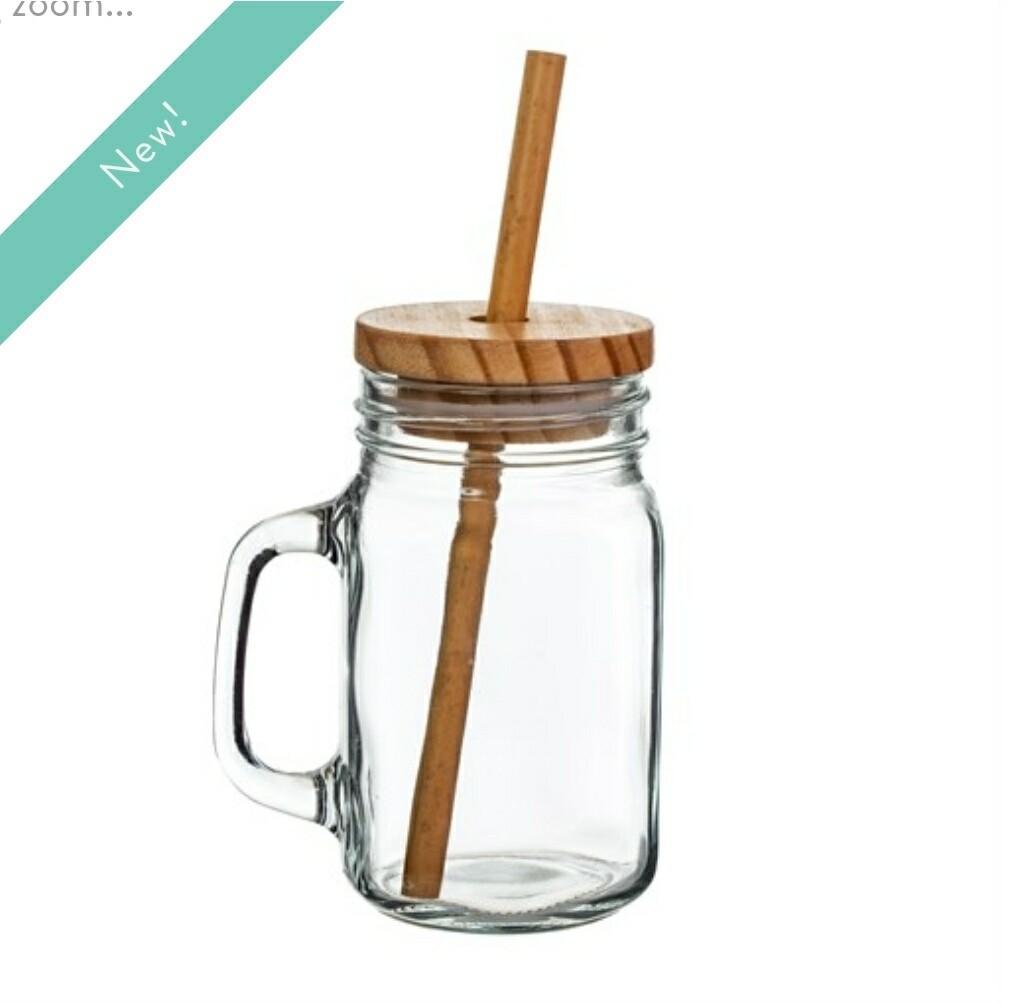 Mason Jar with Bamboo Straw