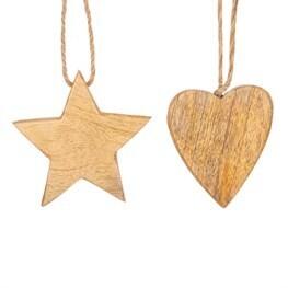 Natural Wood Heart & Star Decorations