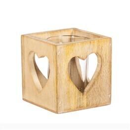 Wooden Birch Heart Tea Light