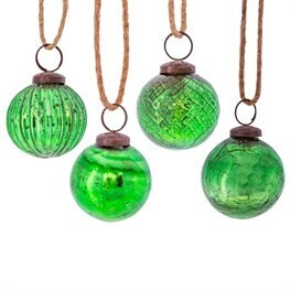 Green Crackle Glass Bauble - Set of 4