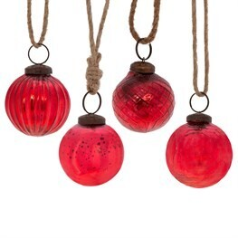 Red Crackle Glass Bauble - Set of 4
