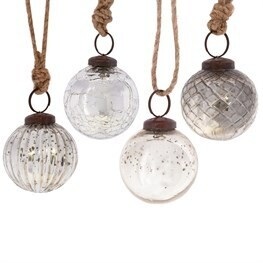 Silver Crackle Glass Bauble - Set of 4