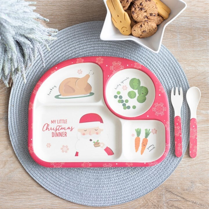 Christmas Bamboo Dinner Plate and Cutlery