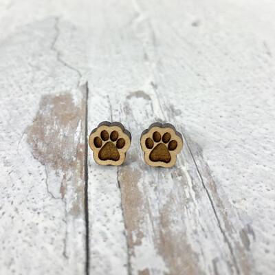 Pawprint Wood Stud Earrings