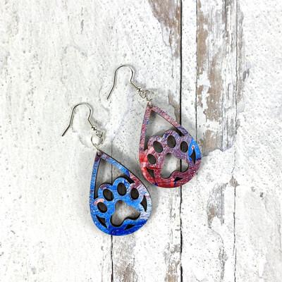 Open Pawprint Patriotic Swirl Drop Earrings