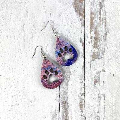 Pawprint Patriotic Swirl Drop Earrings