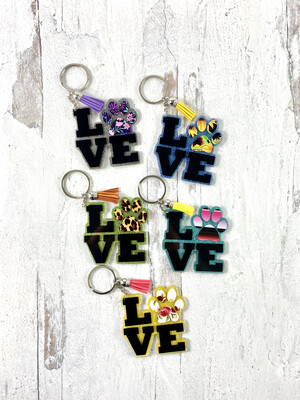 Pawprint Love Glitter Acrylic Keychain