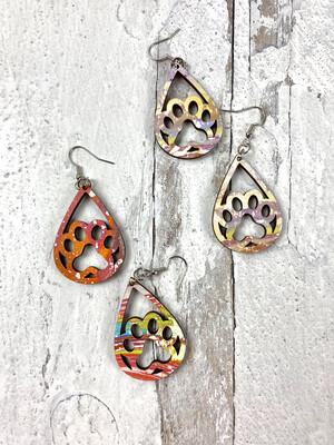 Open Pawprint Tie Dye Drop Earrings