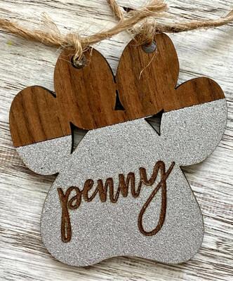 Personalized Glitter Wood Ornament