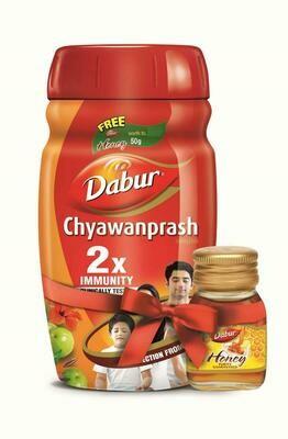 Dabur Chyawanprash 2X Immunity - 1kg with Dabur Honey 50g Free