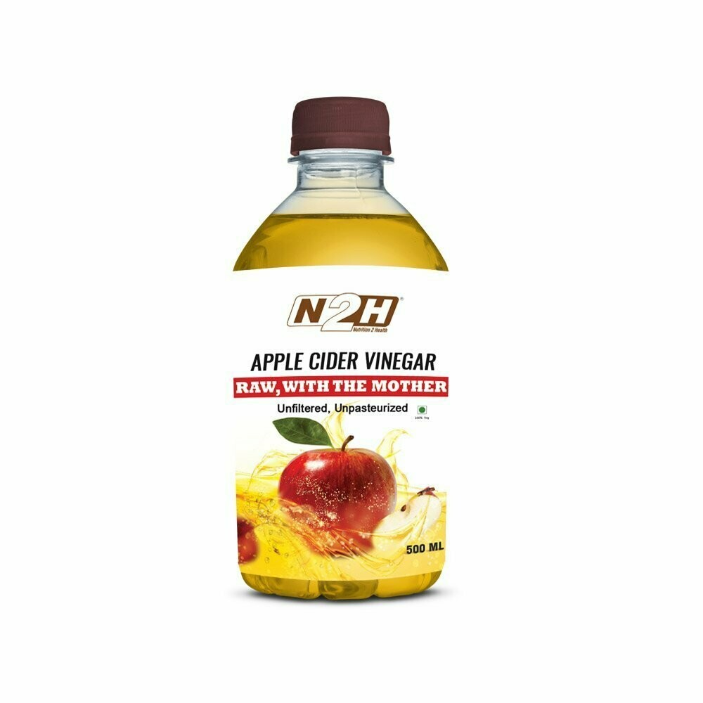 N2H Apple Cider Vinegar Pure & Natural with Mother Vinegar 500ml - Raw, Unfiltered
