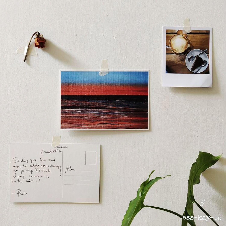 (sun)Sets on the Beach Postcard - Hand Painted, Written