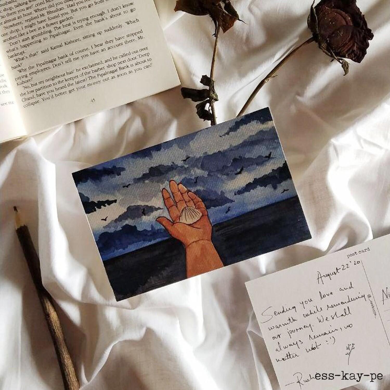 Life's a Beach - Vitamin Sea Shell Postcard - Hand Painted, Written