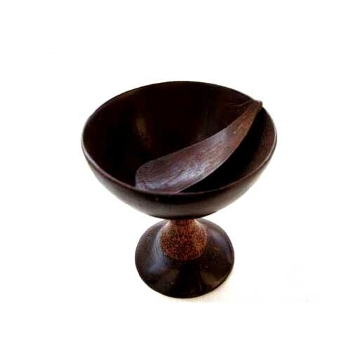 Coconut Shell Hand Made Ice Cream Bowl Wooden Handle With Spoon Eco - Friendly