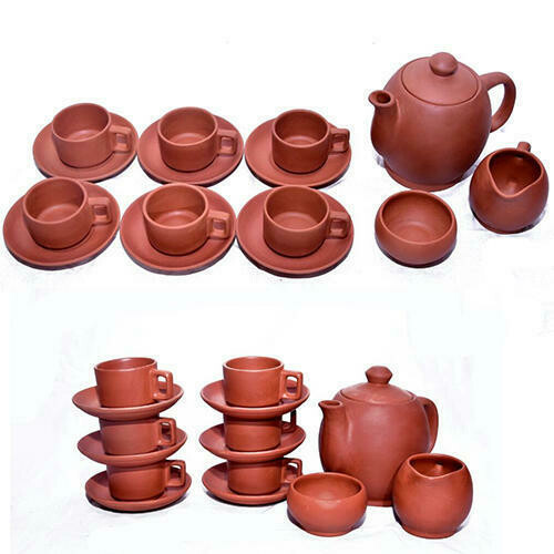 Mitti Cool Clay Tea Cup Set 6 cup plate, 1 kettle and 2 little kettle type pot