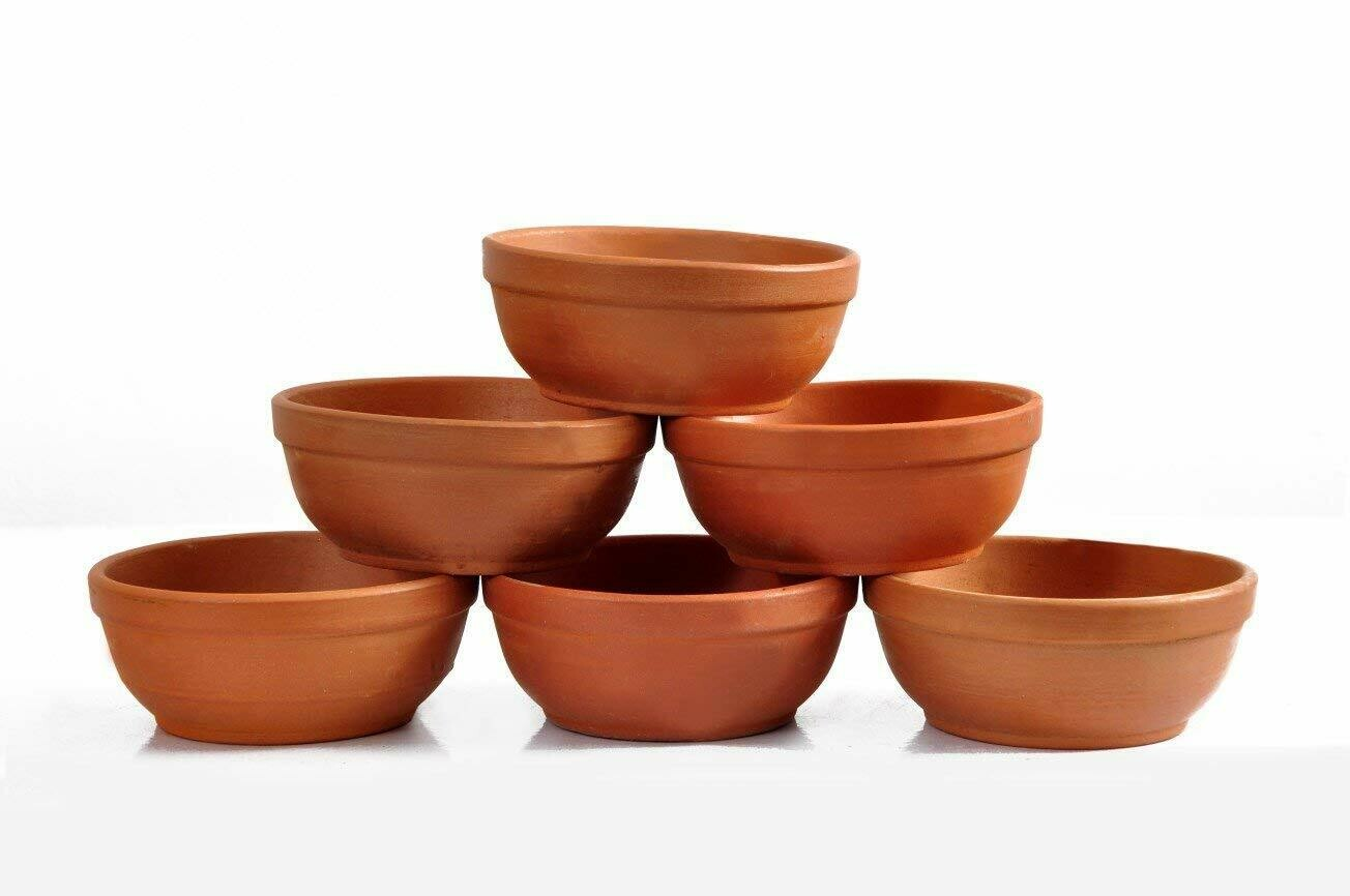 Mitti Cool Vaghbhatt Clay Katori/Serving Bowl/Earthenware Bowl for Serving Curd, Vegetables Set 6pieces