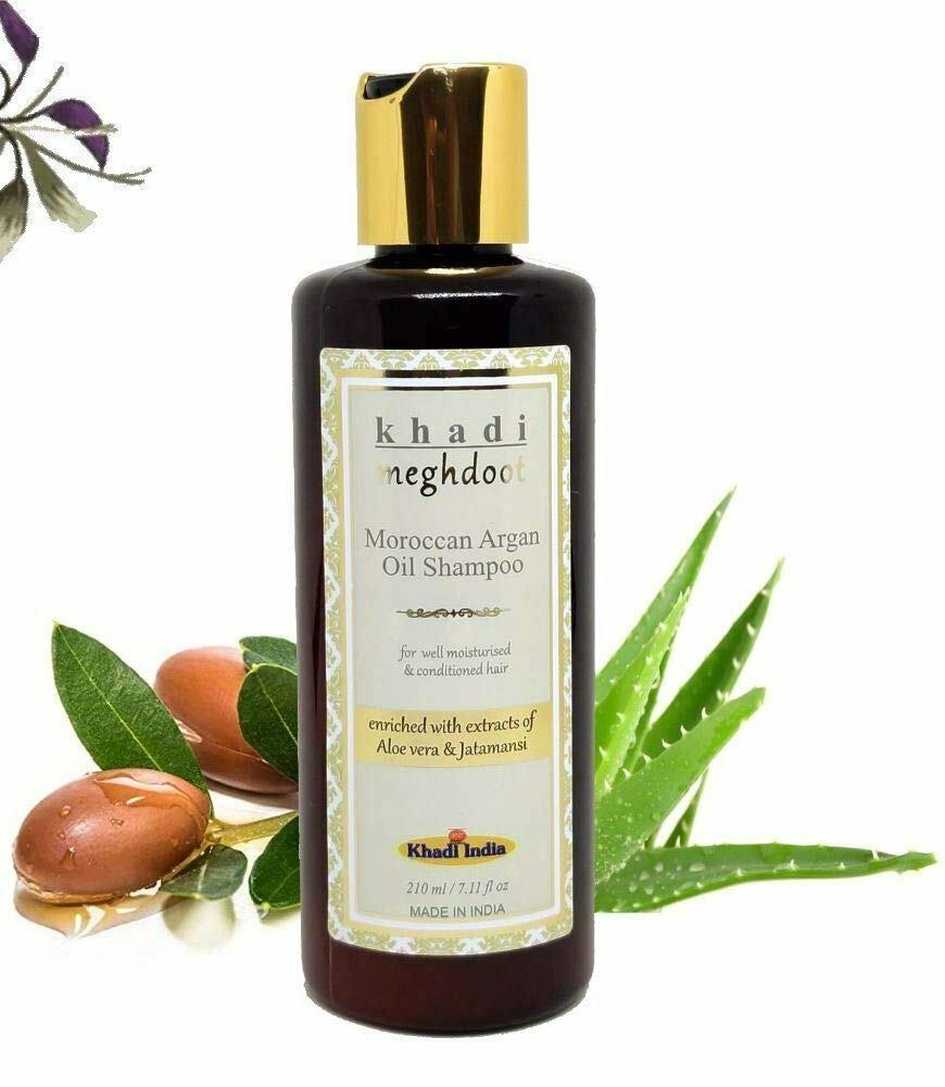 Khadi Meghdoot Moroccan Argan Oil Shampoo 210ml for well Moisturised & Conditioned Hair