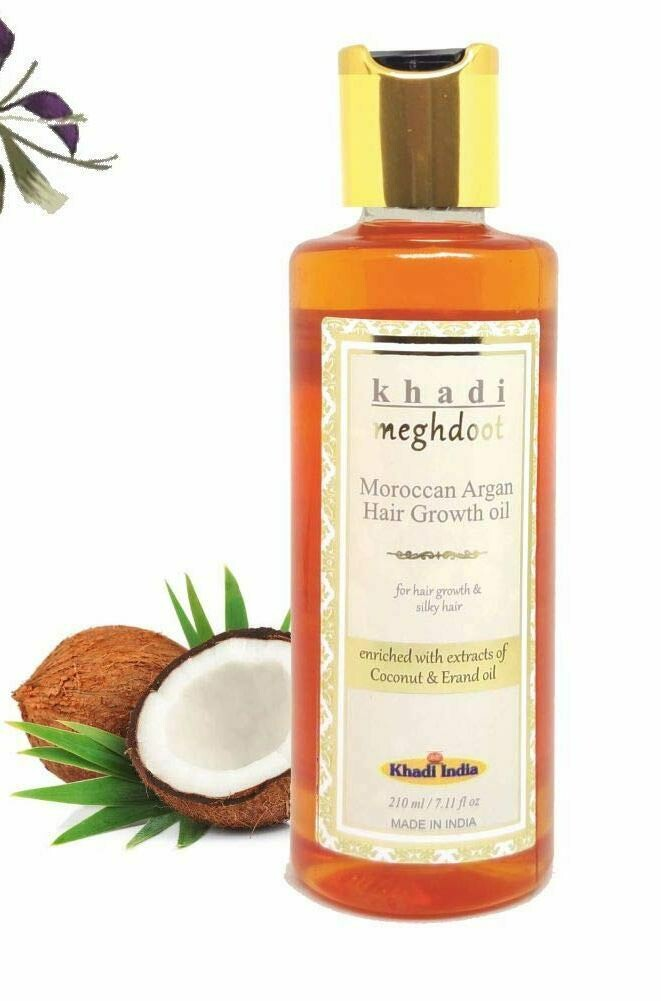 Khadi Meghdoot Moroccan Argan Hair Growth Oil 210ml for Hair Growth & Silky Hair