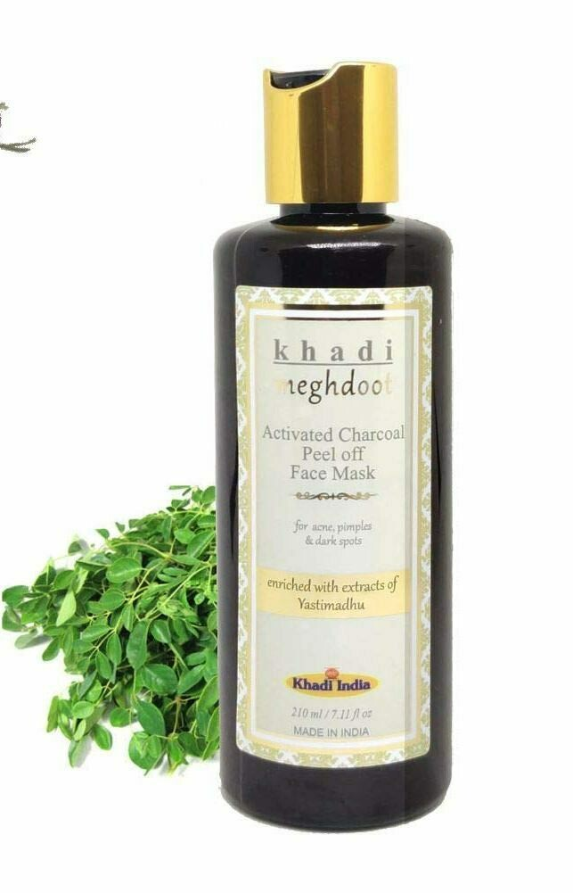 Khadi Meghdoot Activated Charcoal Peel Off Face Mask 210ml for Acne, Pimples & Dark Spots