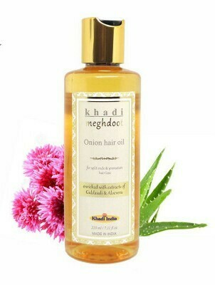 Khadi Meghdoot Onion Hair Oil 210ml for Split ends & Premature Hair Loss