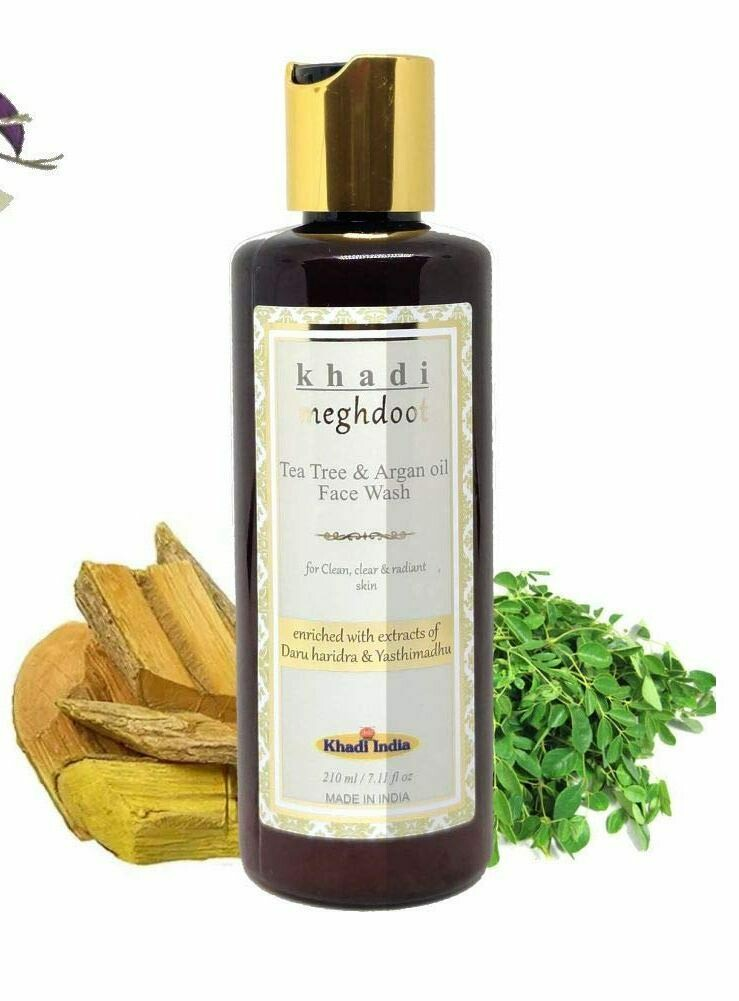 Khadi Meghdoot Tea Tree & Argan Oil Face Wash 210ml for Clean, Clear and Radiant Skin