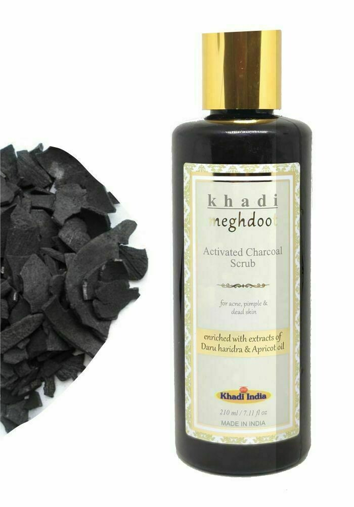 Khadi Meghdoot Activated Charcoal Scrub 210ml for Acne, Pimple & dead skin