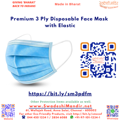 Premium 3 Ply Disposable Face Mask with Elastic