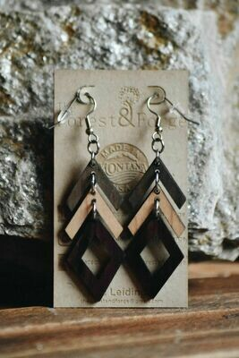 25-2 Stained Alder Hard Maple Earrings $32
