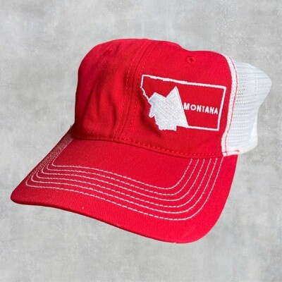 Montana Embroidered Red/White Collapsible Hat