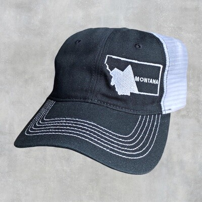 Montana Embroidered Black/White Collapsible Hat