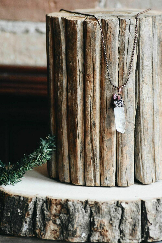 L-1 Polished Natural Quartz Crystal Necklace