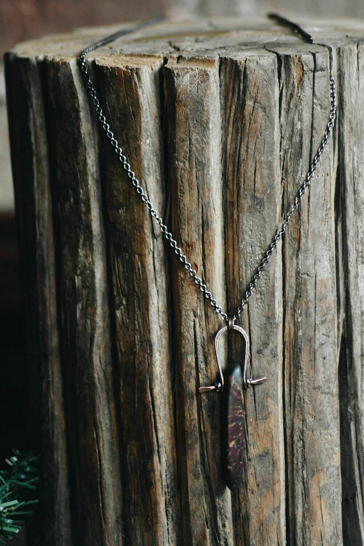 L-11 Red Creek Jasper Warrior Amulet Necklace