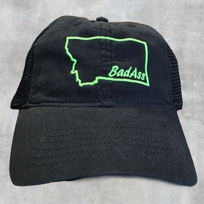 Bad Ass Black w/ Lime Green Embroidery