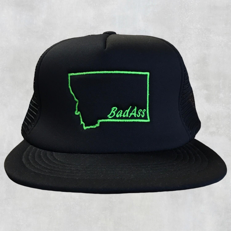 BadAss Flat Bill Green Embroidered Cap