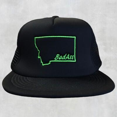 Bad Ass Flat Bill Green Embroidered Cap