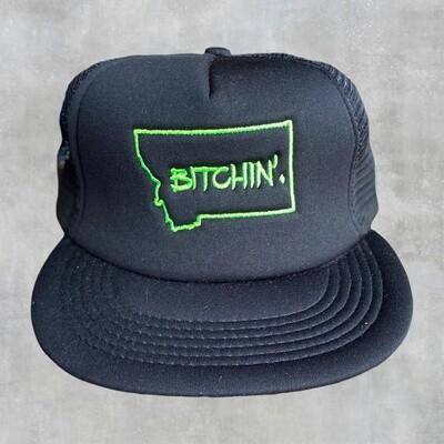 Bitchin - Black Flat Bill Cap w/ Green Embroider