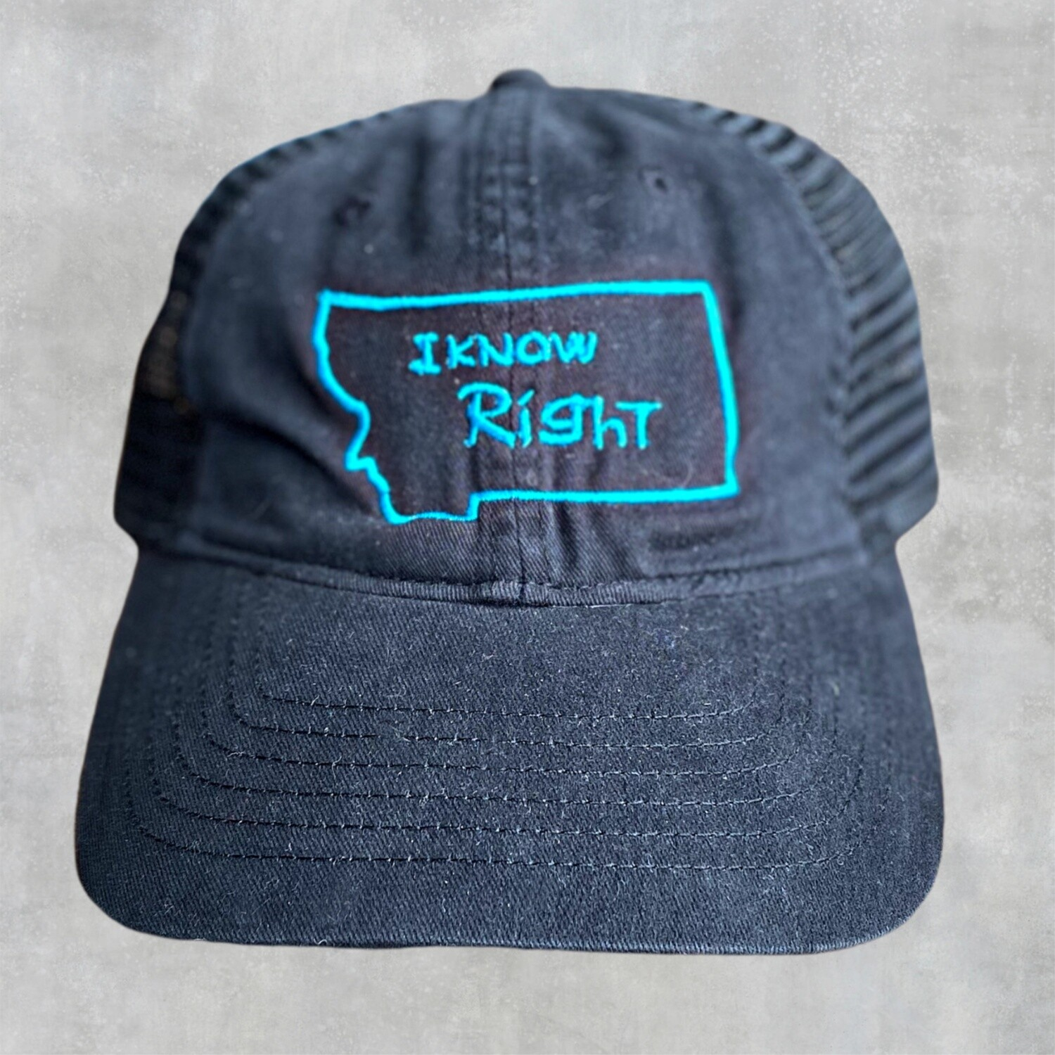 I Know Right - Black w/ Blue Embroidery