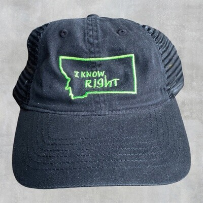 I Know Right - Black w/ Green Embroidery