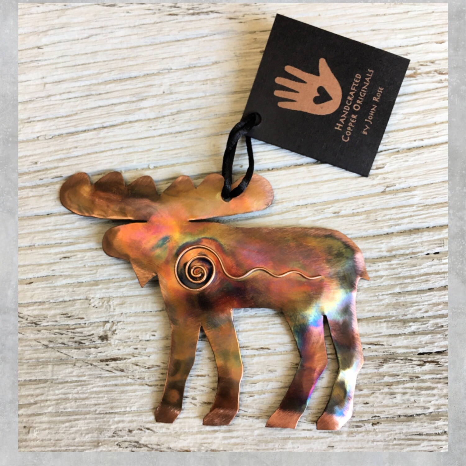 26-16-8 Copper Moose w/ Swirl Ornament $18.50