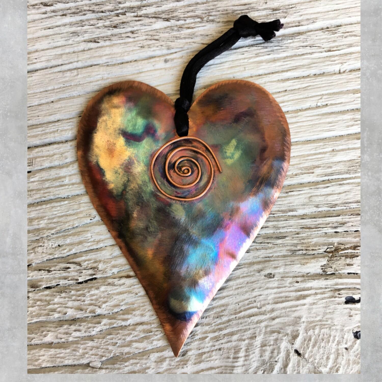26-16-18 Copper Heart w/ Swirl Ornament $18.50