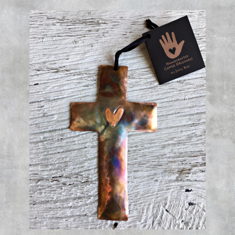 26-16-15 Copper Cross w/ Heart $18.50