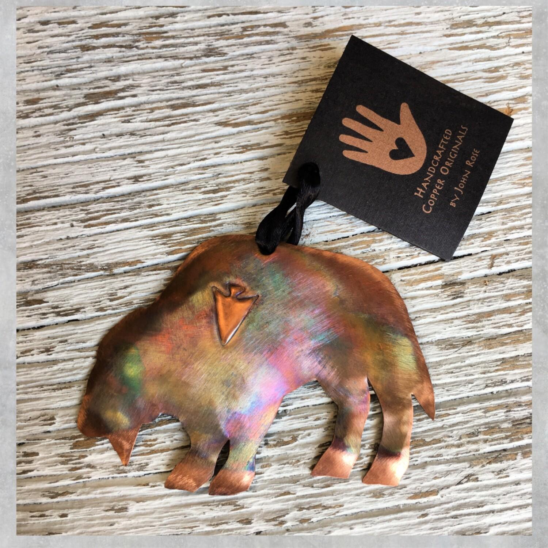 26-16-7 Copper Buffalo w/ Tree Ornament $18.50