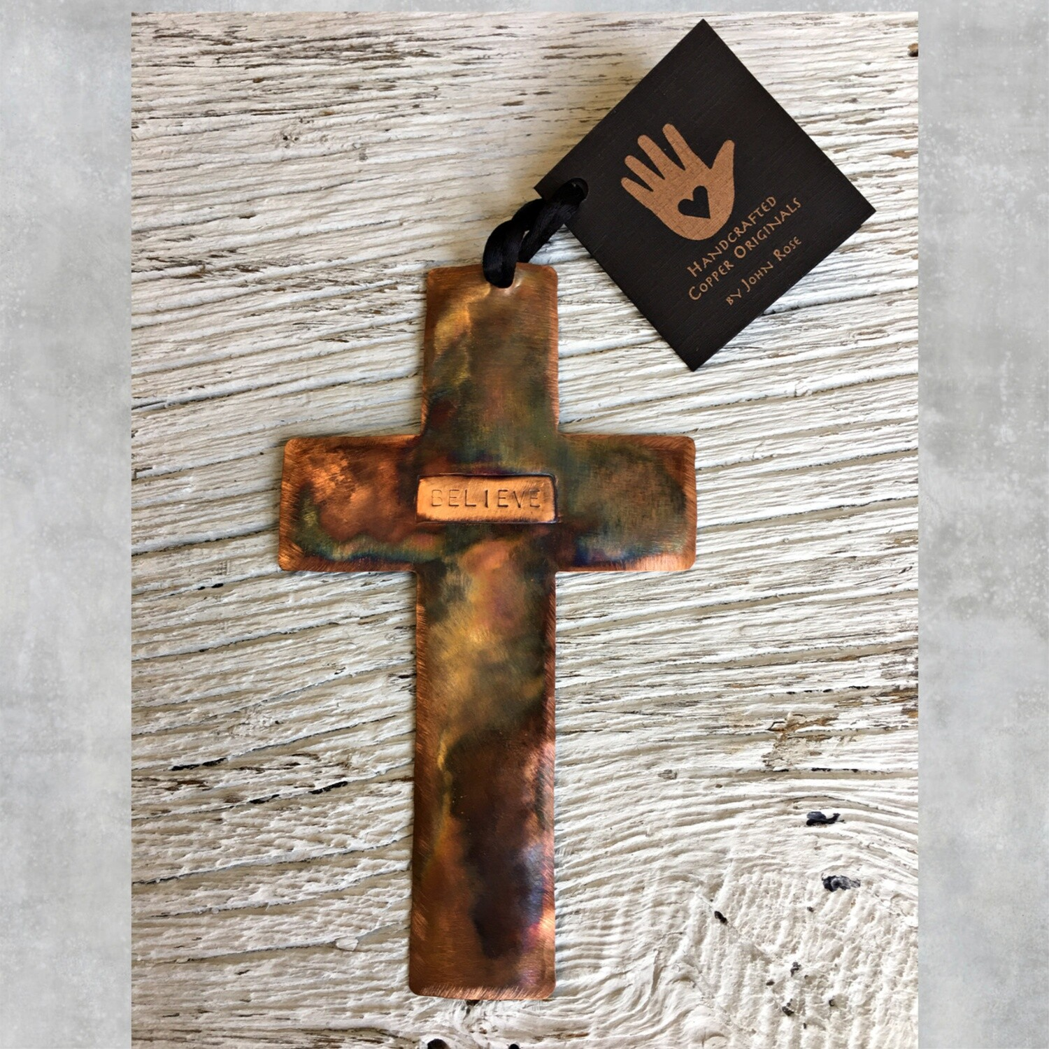 26-16-19 Copper Cross w/ Believe Ornament $18.50