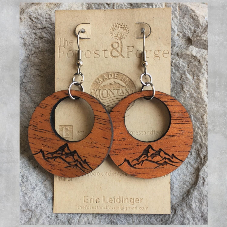 25-9 Mahogany Wood Earrings $24