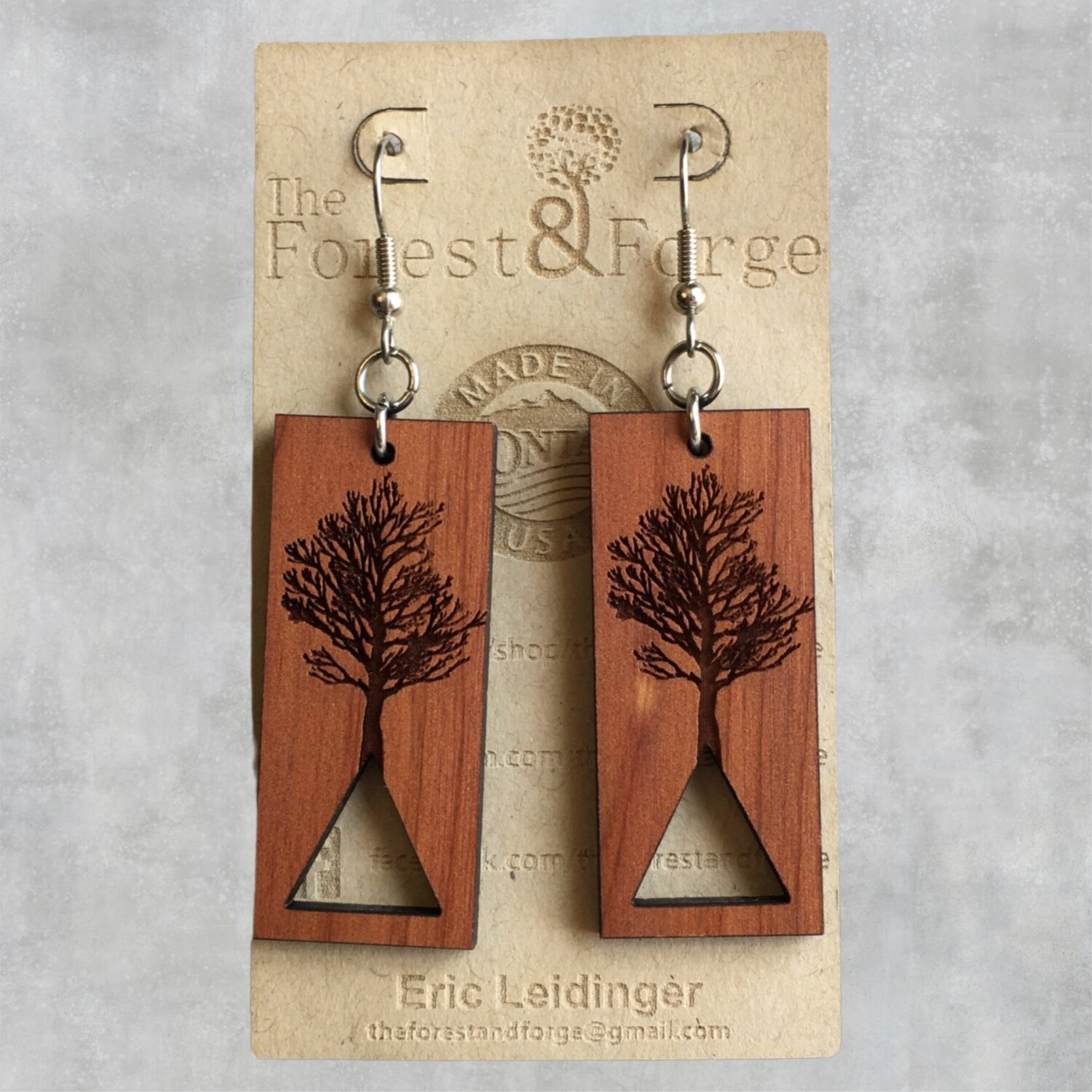 25-8 Red Cedar Wood Earrings $24