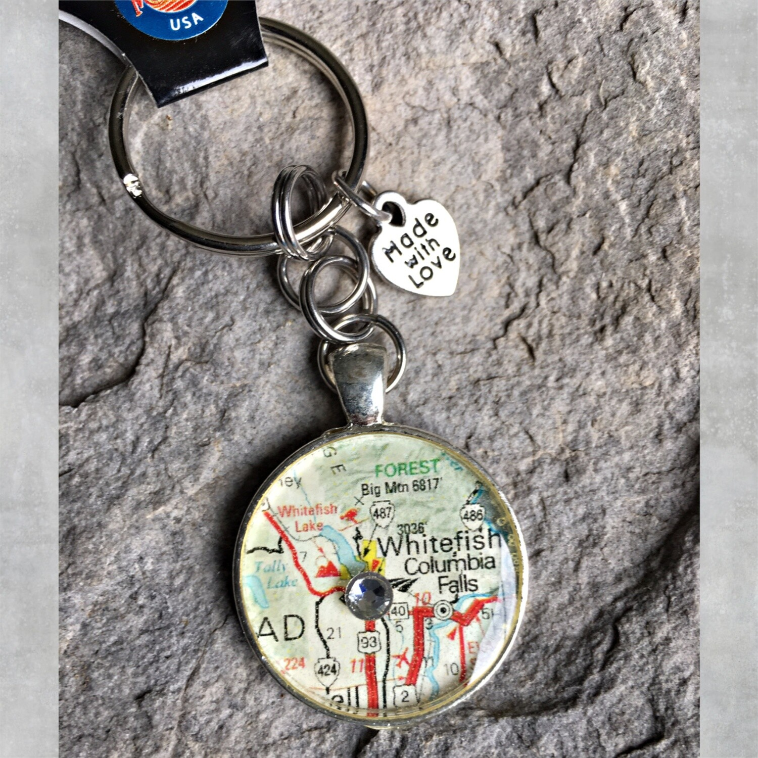 Whitefish/Columbia Falls Map Keychain 40-19-4
