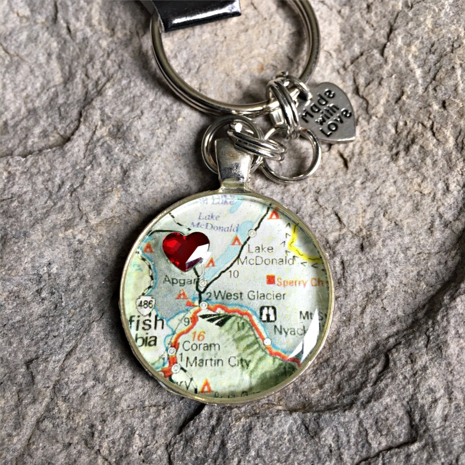 West Glacier w/ Heart Map Keychain 40-19-16