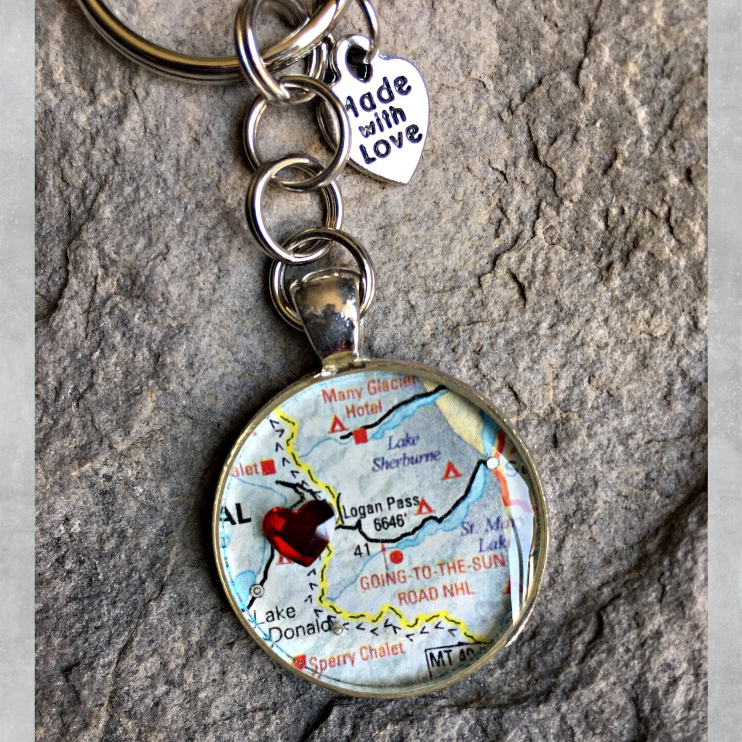 Logan Pass Map Keychain 40-19-18